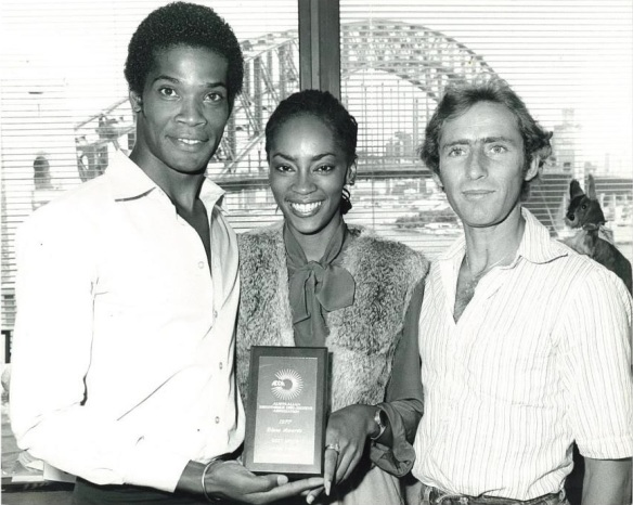 Shalamar days with Gerald Brown receiving Disco Award for Take That To The Bank in Australia, 1978