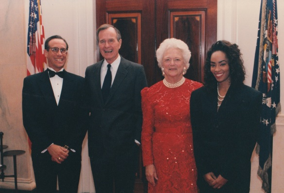 Jody Watley with Former President George H. Bush and Former First Lady Barbara