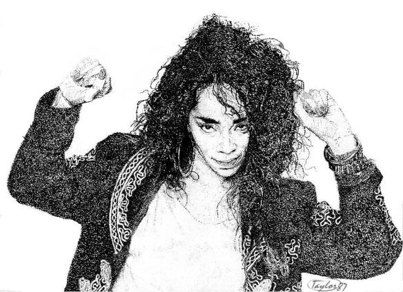 "Via Darryl Liquidd Taylor Facebook Post 11/10/14: ""Back before computers could simulate this effect with fancy filters, we used to do this by hand. ""Jody Watley - pointillism using black rapidograph pen"" Darryl Taylor circa 1986/87"