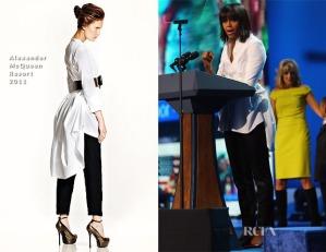In Alexander McQueen white bustle blouse - love it!