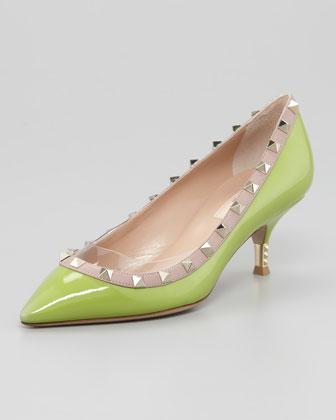 Valentino Green Apple Studded Kitten Heels