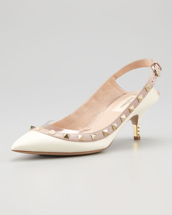 Valentino Cream Studded Slingbacks