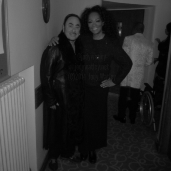 Jody Watley and David Gest backstage Liverpool Philharmonic. © 2014 Jody Watley