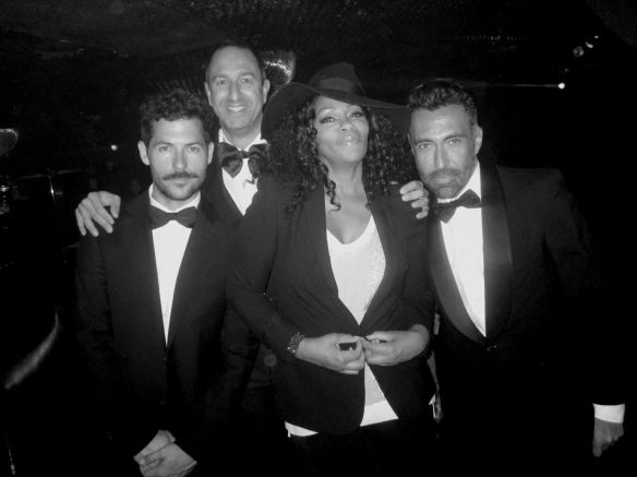 The journey of life is never long with the company of friends - willing to wear black tie and get done up for you! Pictured with birthday boy John Eshaya, Christos and friends of John's.  © 2014 Jody Watley