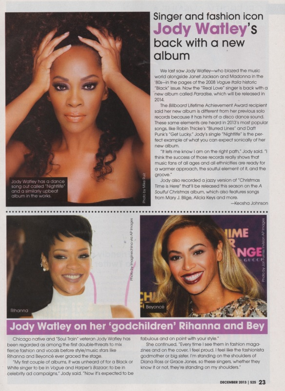 Jody Watley in Sister2Sister Magazine December 2013