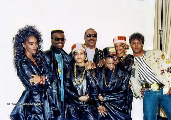 Jody Watley backstage with Salt n Pepa, Spinderella and Herby LuvBug, in 1988 Stevie Wonder MTV Special.