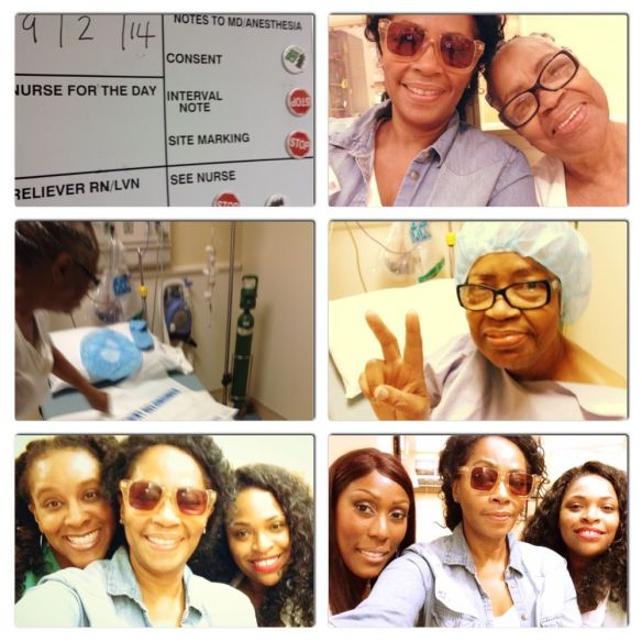 Scenes from the hospital with my Mom. The beautiful ladies posing with me lower right and left were huge fans of mine and nearly in tears to meet me and let me know who much I meant to them.