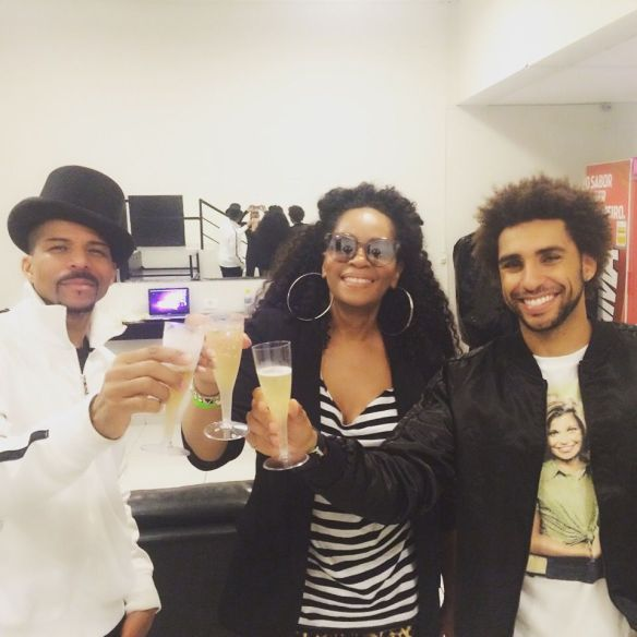 A toast to another trip to remember. Rosero McCoy, Jody Watley, Rosero McCoy in Sao Paulo Brazil.