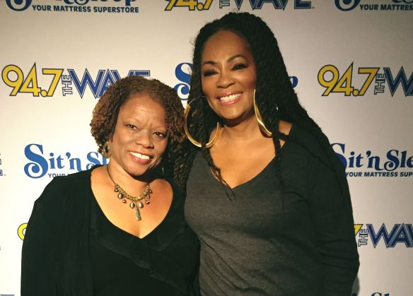 On air personality Pat Prescott and Jody Watley 94.7 The Wave 11/12/15