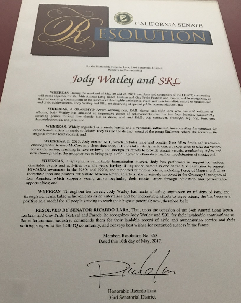 Jody Watley Resolution California State 2017