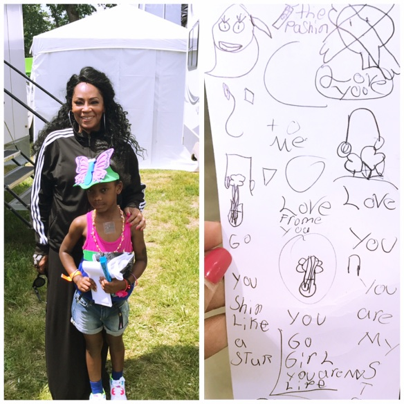 Jody Watley and Little Fan Heaven Backstage Detroit GP